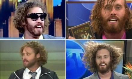 The performance art of TJ Miller's morning TV news appearances
