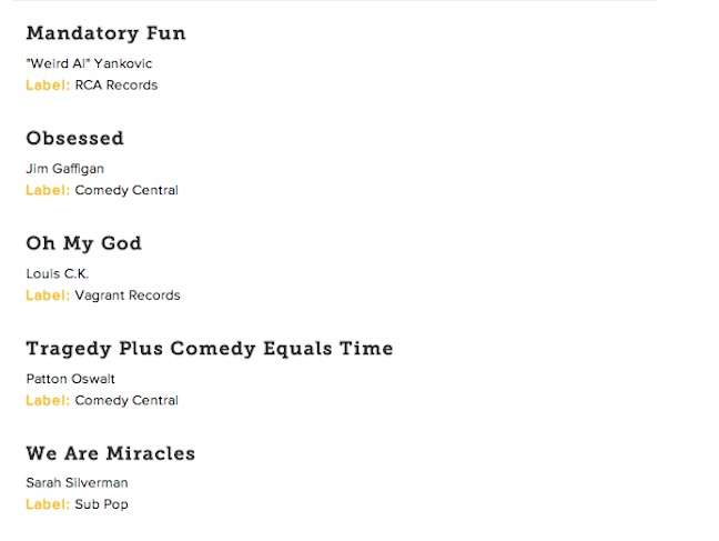 57th annual Grammy Awards nominations in comedy, spoken word