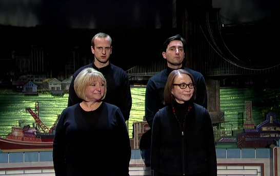 "Scene work from The Late Show with David Letterman's ""Improv"" troupe"
