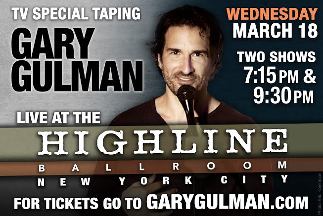 Gary Gulman filming a new stand-up concert film with Apostle