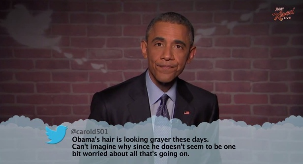 "President Barack Obama reads ""Mean Tweets"" on Jimmy Kimmel Live"