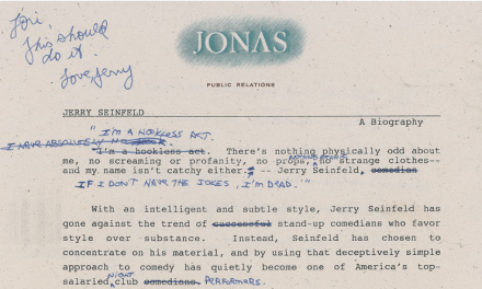 Up for auction: Jerry Seinfeld's handwritten corrections to his 1989 PR bio