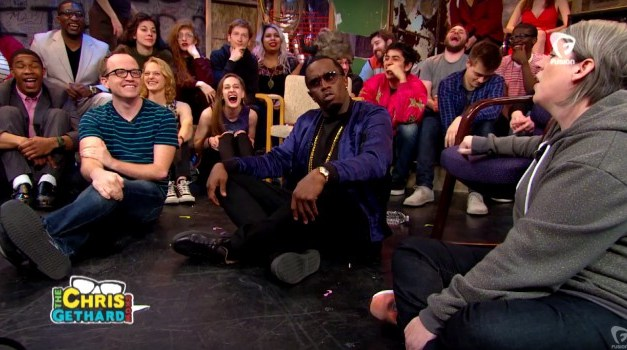 Sean Combs enters through the Diddy Door for The Chris Gethard Show on Fusion