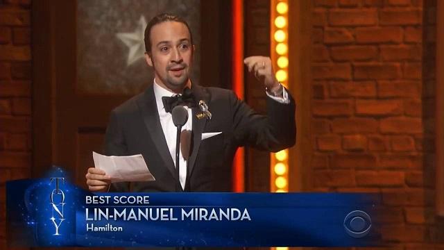 "Lin-Manuel Miranda's declaration of love: His Best Score acceptance speech for ""Hamilton"" at the Tony Awards"