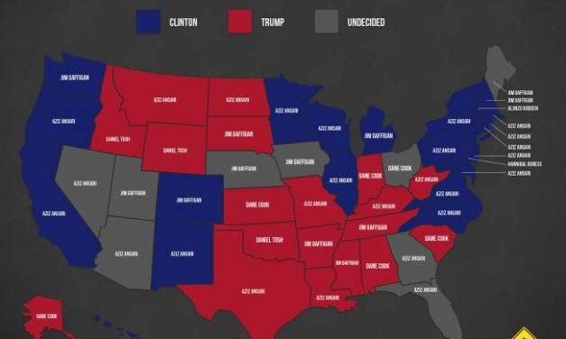 Snapshot: Most popular comedians on Laugh.ly app by state, vs. presidential leanings, October 2016