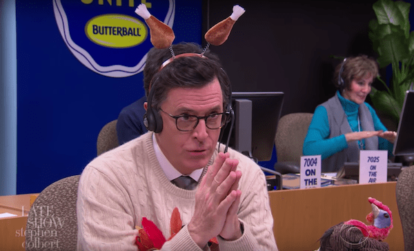 Stephen Colbert answers Butterball turkey hotline calls for Thanksgiving 2016