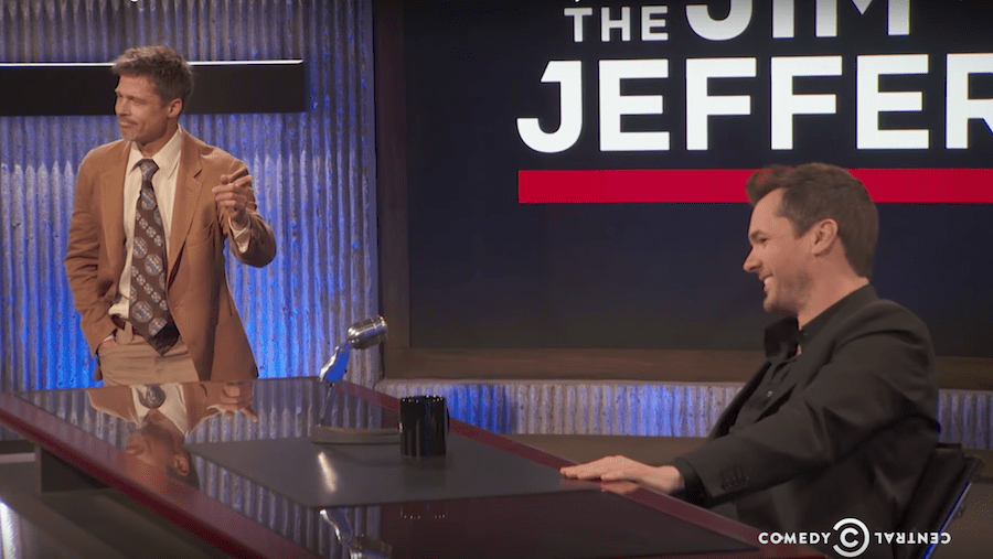 Brad Pitt delivers the global warming forecast for the debut of The Jim Jefferies Show