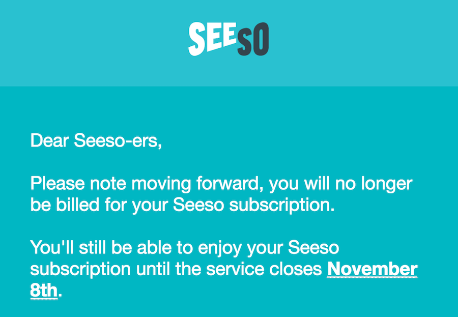 Seeso will shut down Nov. 8, 2017
