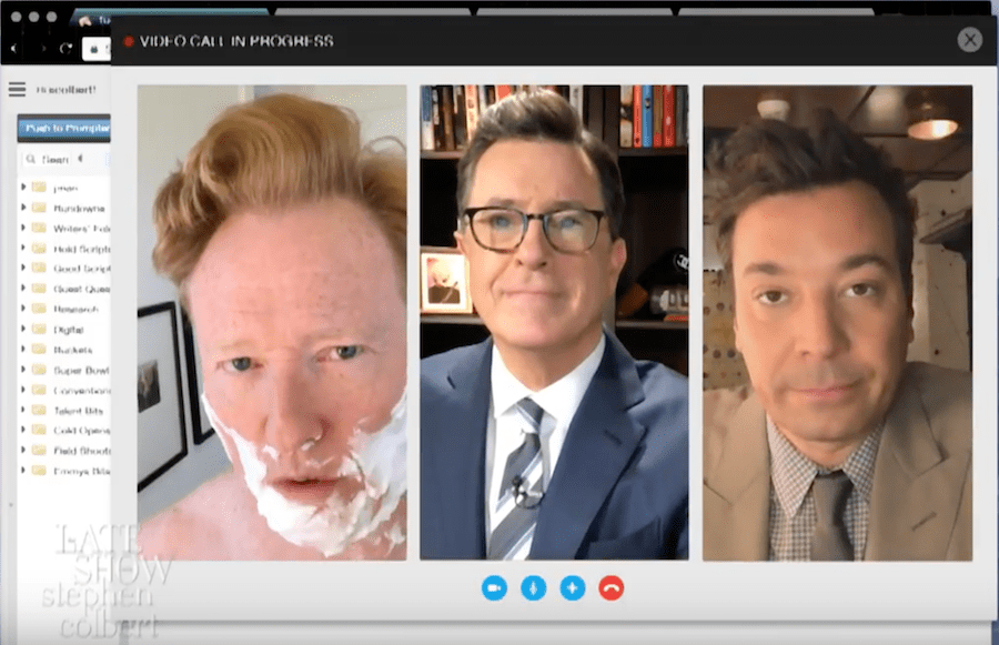 Stephen Colbert and Jimmy Fallon join forces and Conan O'Brien, too, in joint monologue about Trump