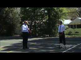 Obama and former NBA player, Clark Kellogg, play pig in an obvious staged victory for the President. When was the last time you played basketball while wearing business clothes?