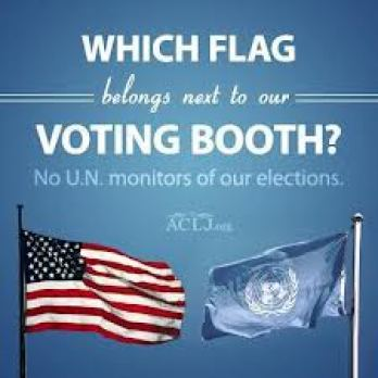 un flag in voting booth