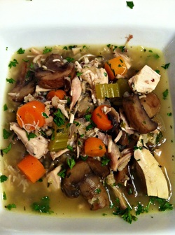 Served Chicken, mushroom and wild rice soup