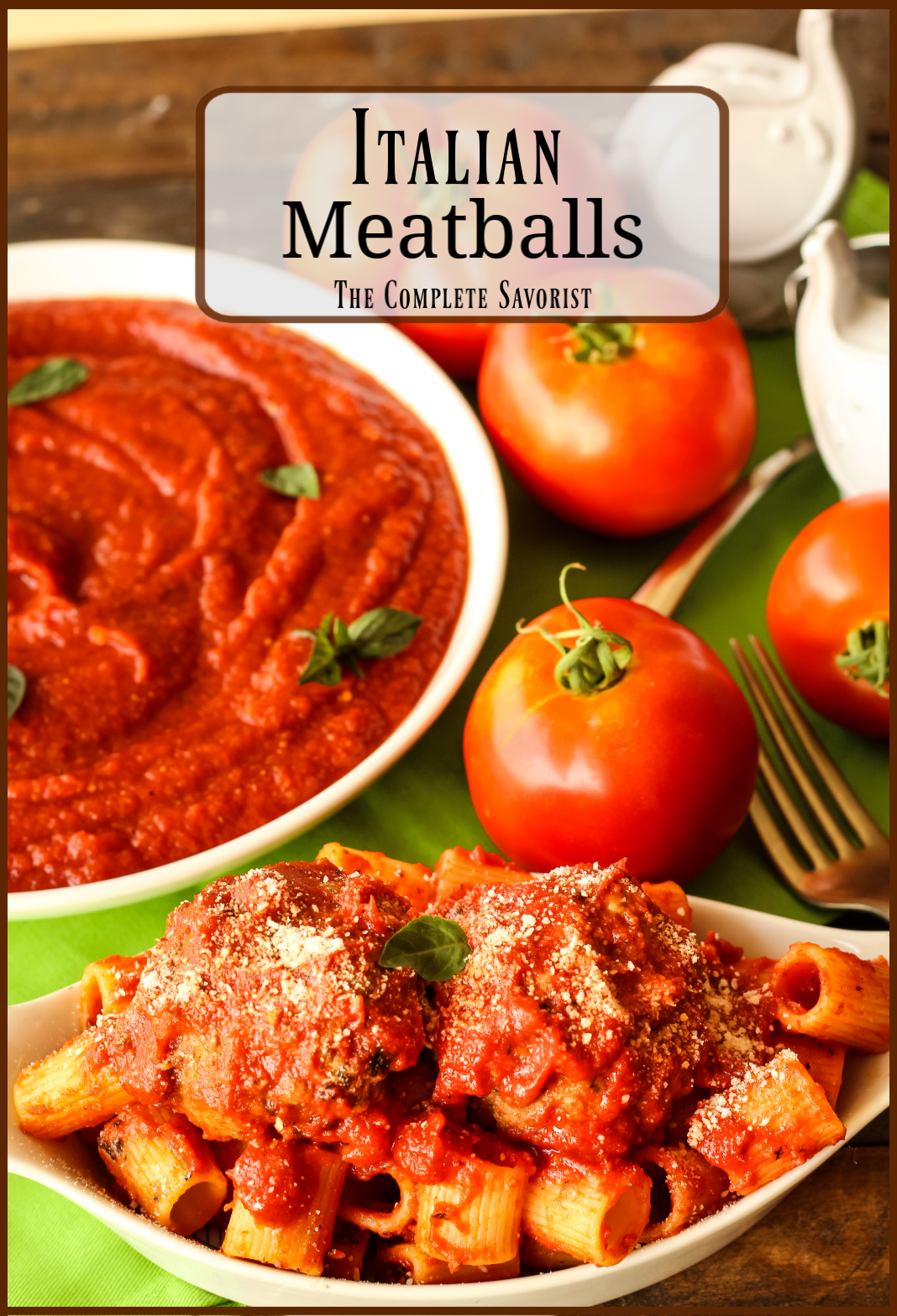 Saucy Italian meatballs, a blend of ground pork and beef.