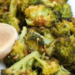 Garlic Parmesan Roasted Broccoli ~ Fresh broccoli tossed with olive oil and parmesan then roasted until crisp and delicious ~ The Complete Savorist by Michelle De La Cerda
