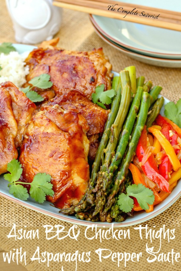 Asian Bbq Chicken Thighs With Asparagus Pepper Saute The Complete