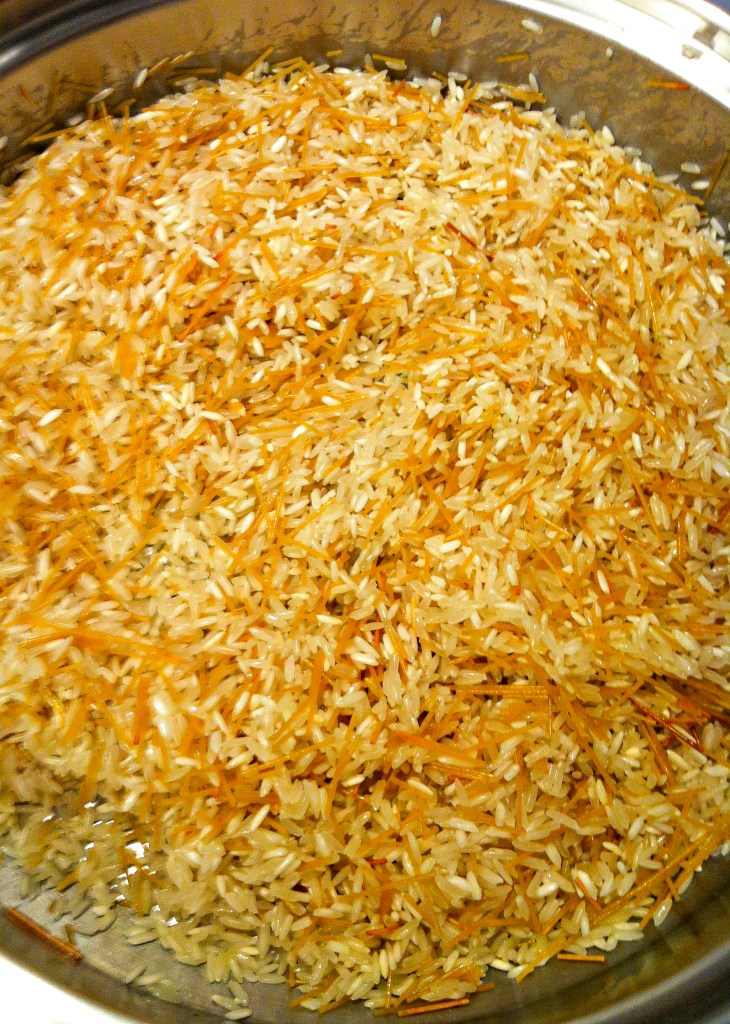 Browning the rice and and pasta for the start of rice pilaf.