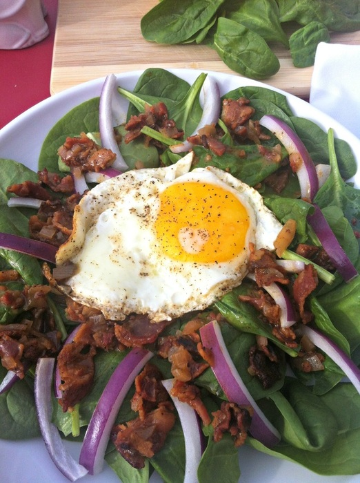 Spinach Salad with Hot Bacon Mustard Vinaigrette ~ The Complete Savorist