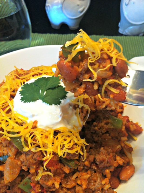 Spanish Rice Skillet on the fork