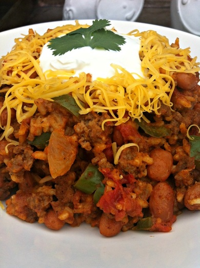 Close up of Spanish Rice Skillet ~ The Complete Savorist