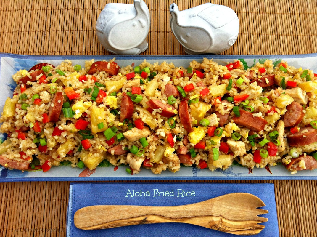 Aloha Fried RiceAloha Fried Rice ~ A sweet, tangy, and tropical twist on fried rice with pineapple, chicken, sweet red peppers, and smoked sausage  ~ The Complete Savorist