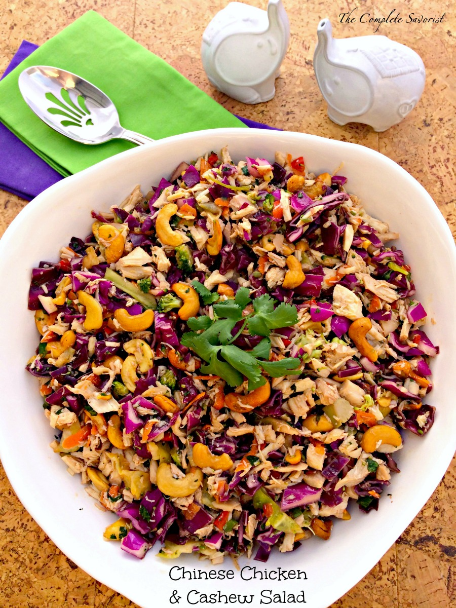 Chinese Chicken & Cashew Salad ~ Quick yet delicious combination of chicken, Asian-style slaw, and cashews for a tangy and satisfying meal ~ The Complete Savorist