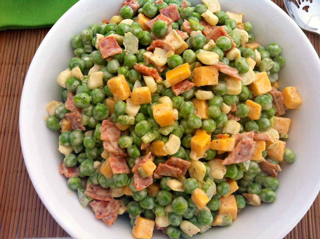 Pea Salad ~ A humble yet delicious spring-tasting salad with cheese, pepperoni, and corn, in a simple spiced mayo dressing ~ The Complete Savorist
