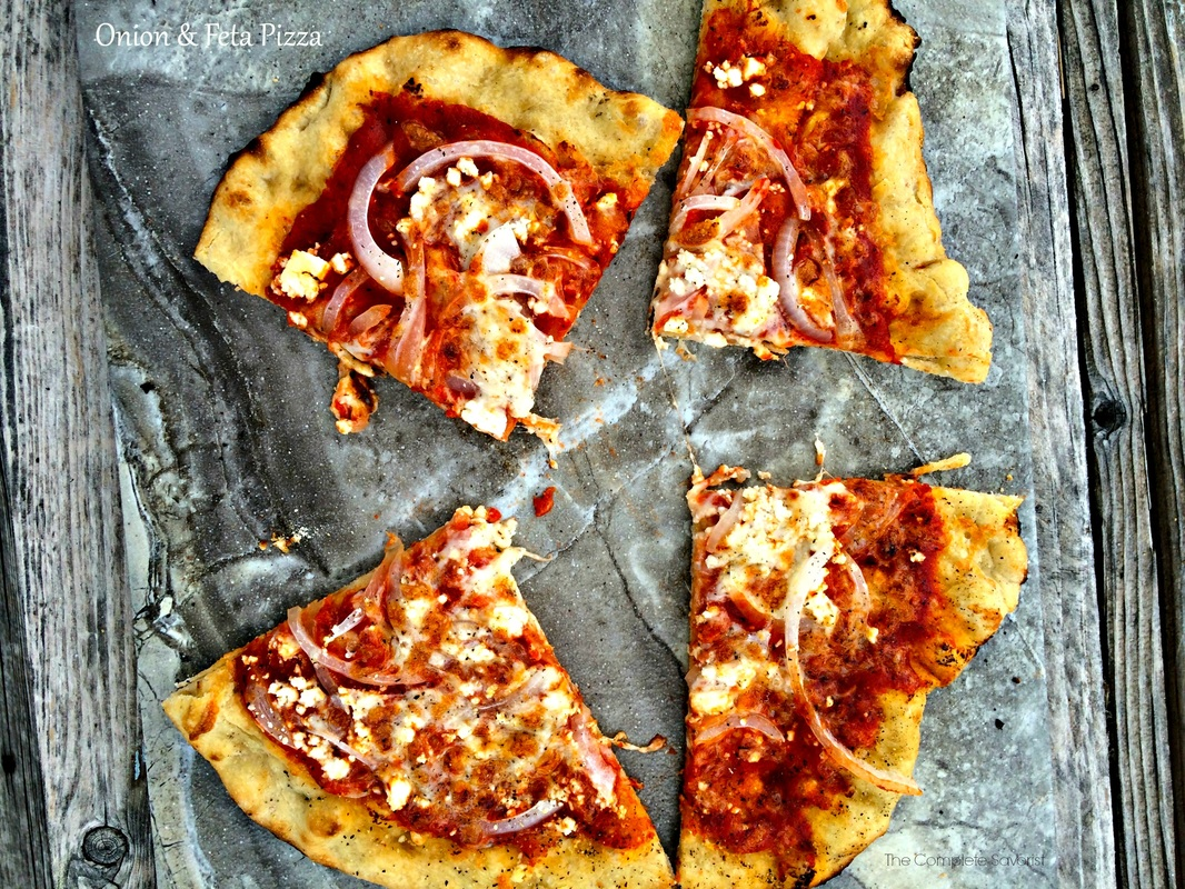 Onion and Feta Pizza ~ Humble toppings, feta cheese and onion on homemade sauce and dough make for one flavorful pizza ~ The Complete Savorist