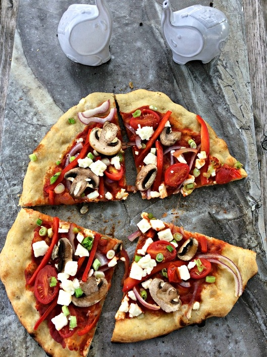 Pizza using Garlic Scape and Basil Pizza Sauce ~ The Complete Savorist