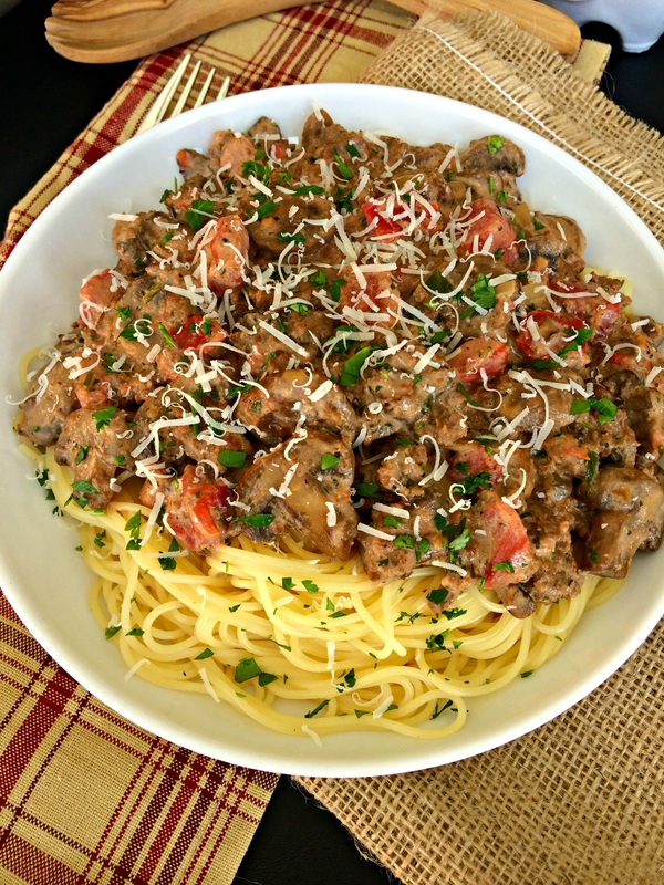 Spaghetti with Creamy Mushroom, Beef, & Balsamic Sauce ~ Spaghetti covered in a creamy sauce of mushrooms, ground beef, tomatoes with a hint of balsamic ~ The Complete Savorist