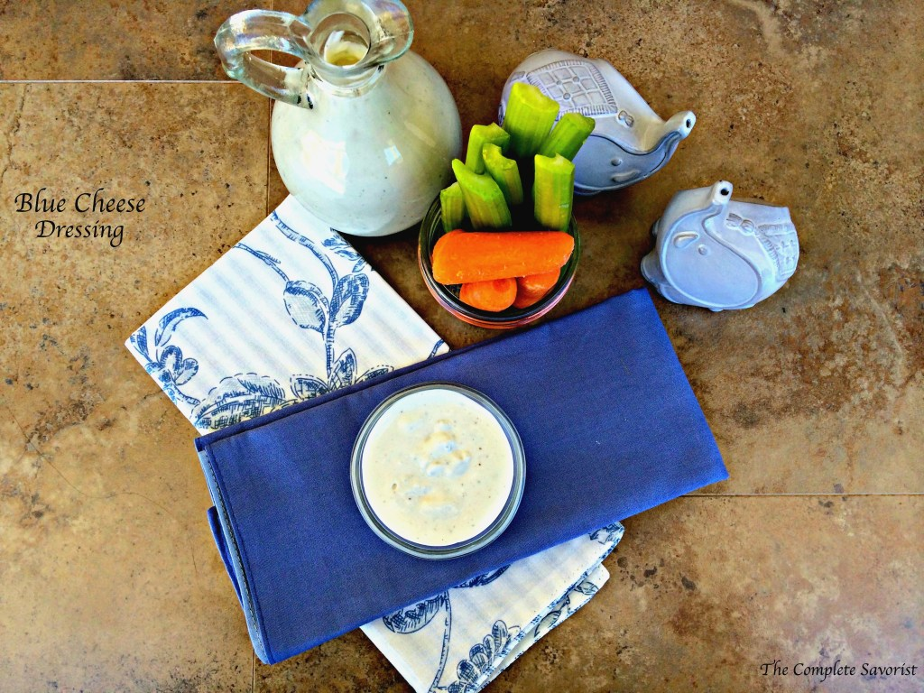 Blue Cheese Dressing ~ Creamy, tangy, and chunky, everything you want in your homemade blue cheese dressing, great as a dip or on top of your favorite salad ~ The Complete Savorist