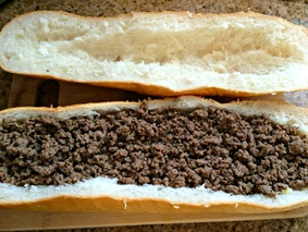 Adding the beef to Mushroom Swiss Cheeseburger Stuffed French Bread ~ The Complete Savorist