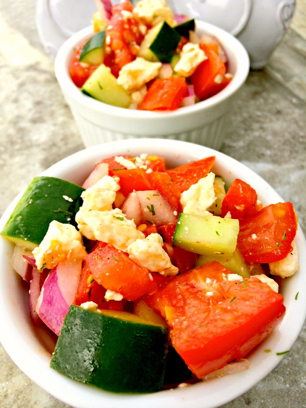 Easy Greek Salad ~ A humble salad of fresh tomatoes, onions, and cucumbers with feta crumbles in a red wine vinaigrette ~ The Complete Savorist