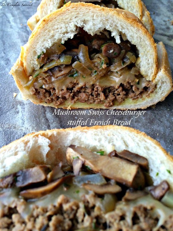 Mushroom Swiss Cheeseburger Stuffed French Bread ~ The Complete Savorist