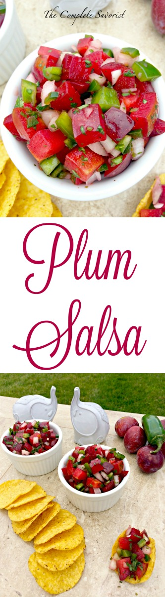 Plum Salsa ~ Fresh red plums, peppers, onions, and cilantro for a delicious twist on the classic salsa; great with chips or on a taco ~ The Complete Savorist