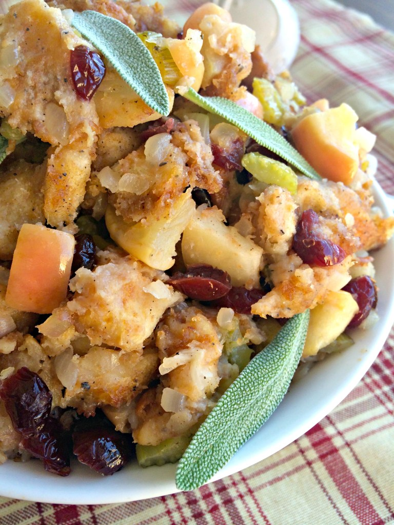 Sage Apple Cranberry Dressing ~ Herbaceous and fruity, the classic holiday dressing with a flirty twist ~ The Complete Savorist