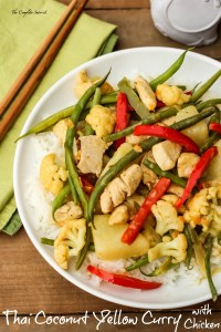 Thai Coconut Yellow Curry ~ A restaurant quality dish easily made at home, often using pantry staples of veggies, coconut milk, rice, and chicken ~ The Complete Savorist