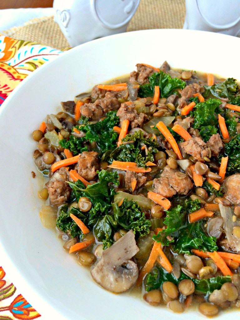 Sausage and Lentil Soup ~ Robust and hearty, lentils, kale, sausage, and mushrooms in a drinkable broth made aromatic from fennel and oregano ~ The Complete Savorist