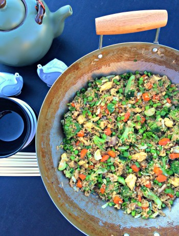 Vegetable Fried Rice ~ Opps, I made too much rice again becomes a wonderfully quick and veggie loaded dinner or side dish ~ The Complete Savorist