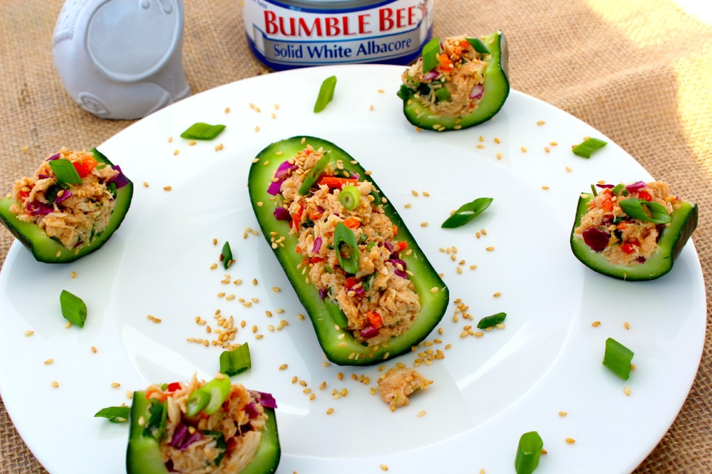 Asian Tuna Salad in Cucumber Boats ~ An Asian twist and an updated taste for the classic tuna salad, served in hollowed cucumbers ~ The Complete Savorist