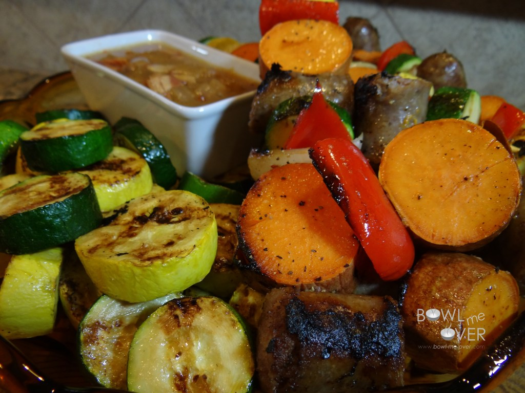 Brat Kebobs with Bacon Onion Dipping Sauce