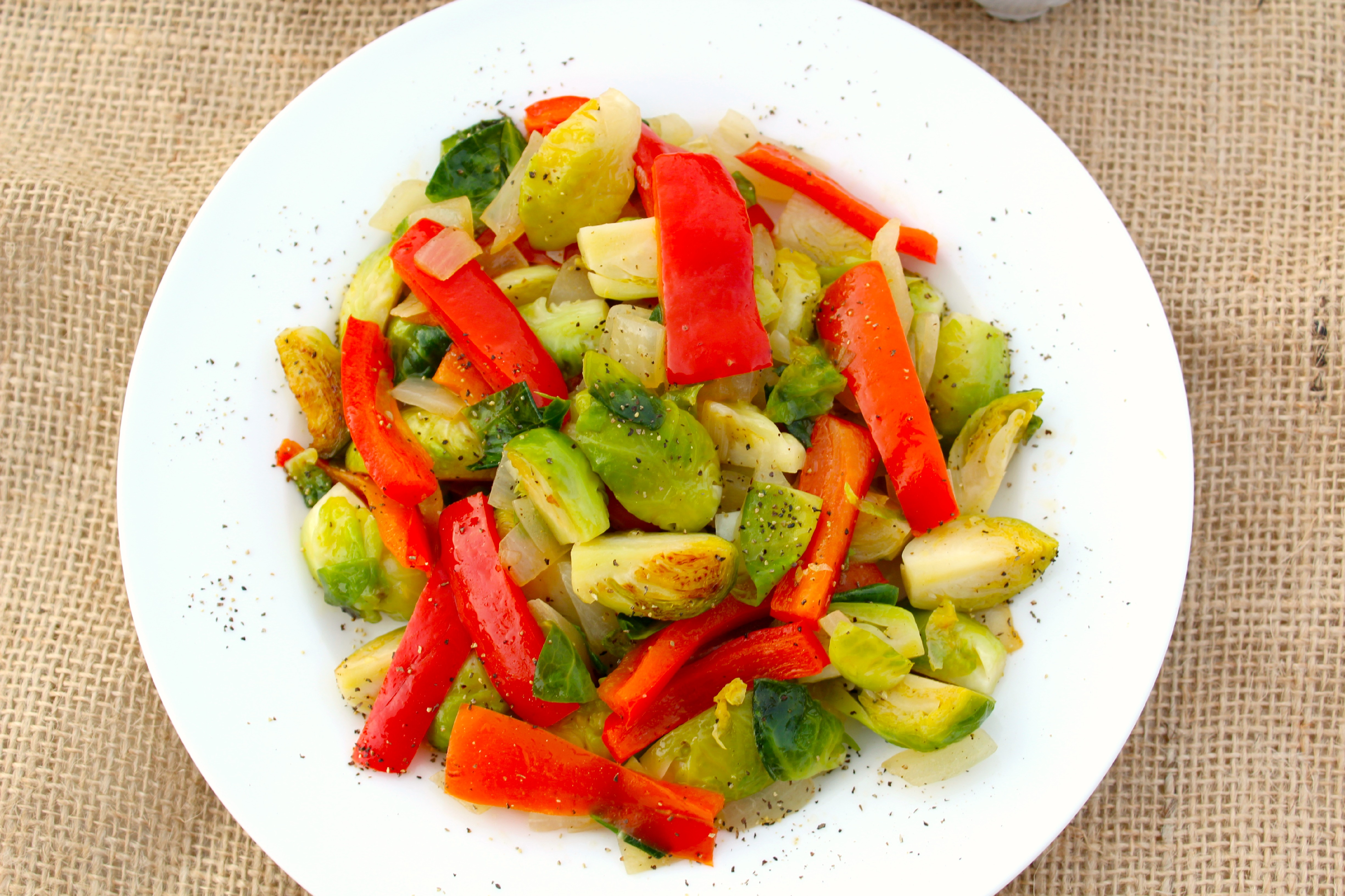 Quick Brussels Sprouts And Red Pepper Saute The Complete Savorist