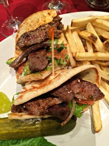 Grilled Steak Flatbread Sandwich at Stephen's American Bistro