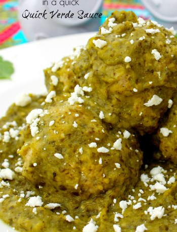 Pork Meatballs in a Quick Verde Sauce ~ Seasoned ground pork formed into meatballs and cooked in a simmering stove top verde sauce ~ The Complete Savorist
