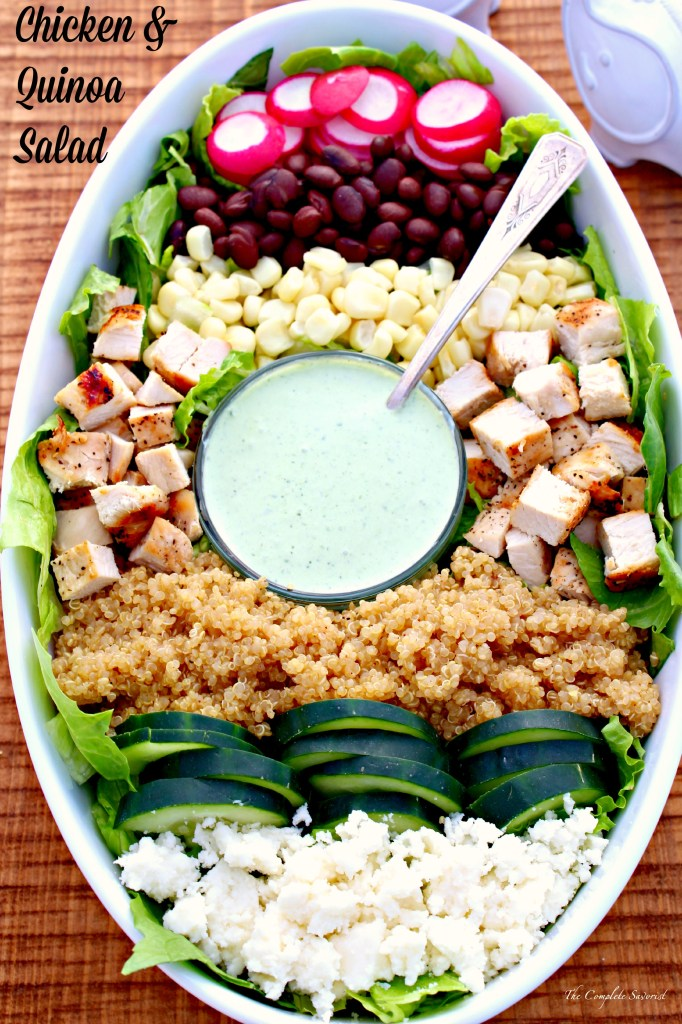 Chicken and Quinoa Salad ~ A quick tossed together salad loaded with protein from grilled chicken, black beans, and quinoa, then made rich and silky with a creamy cilantro dressing ~ The Complete Savorist