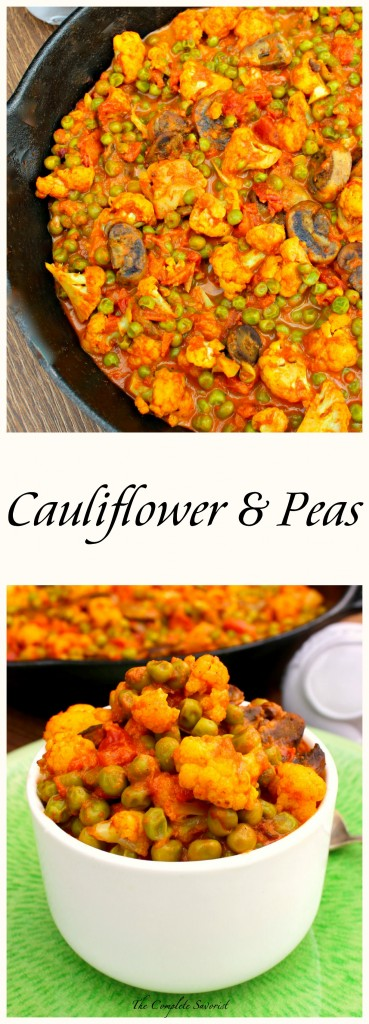 Gobi Matar Masala Cauliflower and Peas - Cauliflower and peas in a creamy Indian spiced tomato sauce. Perfect vegetarian meal or a great side dish to your grilled chicken. ~ The Complete Savorist