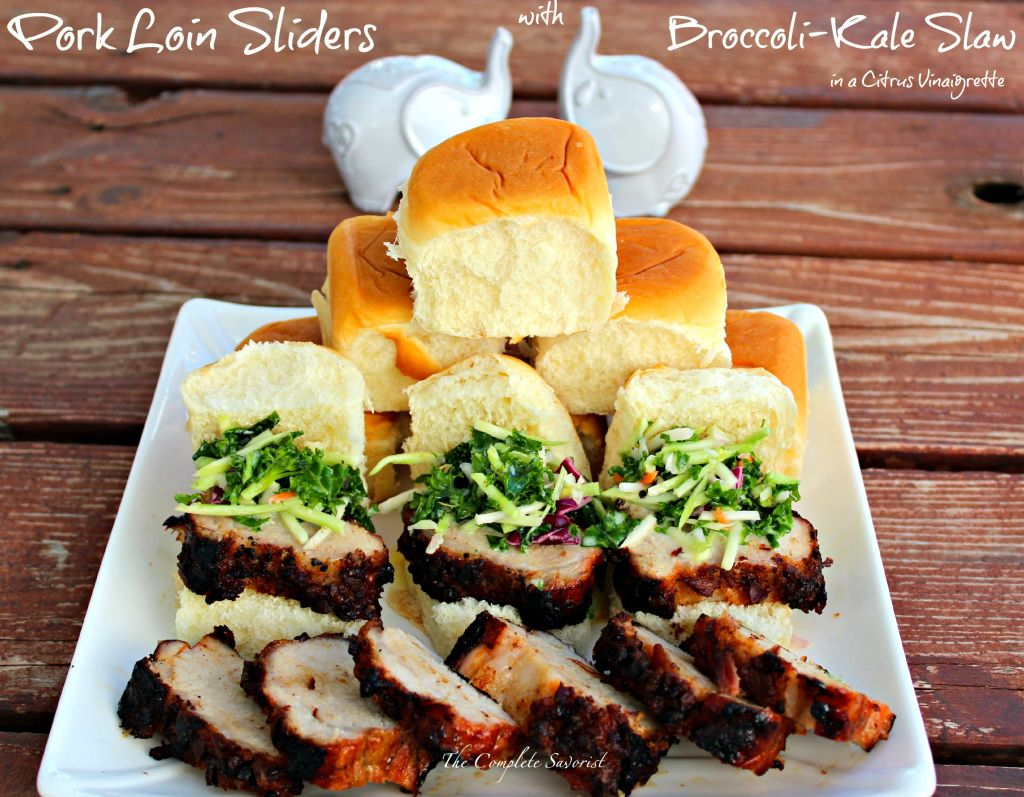 Pork Loin Sliders and Broccoli-Kale Citrus Slaw ~ Applewood bacon topped pork loin filet grilled and sliced then topped with a broccoli and kale slaw dressed in a tangy and slightly creamy citrus vinaigrette ~ The Complete Savorist