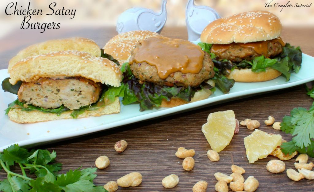 Chicken Satay Burgers - Freshly ground chicken thighs seasoned with traditional satay flavors with a tropical fruits twist in one crazy recipe challenge ~ The Complete Savorist by Michelle De La Cerda