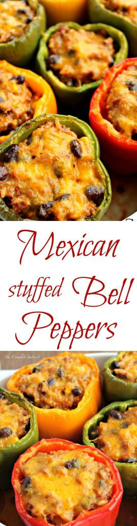 Mexican Stuffed Bell Peppers ~ Bell peppers stuffed with rice, black beans, corn, taco meat, and cheese. ~The Complete Savorist