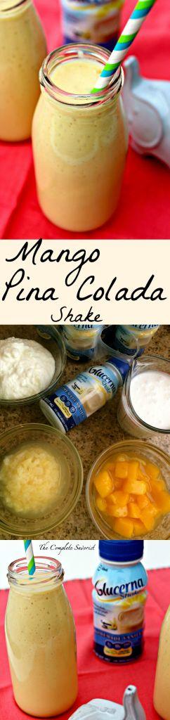 Mango Pina Colada Shake ~ Glucerna Vanilla shake buoyed with Greek yogurt, pineapple, mango, and coconut milk for a delicious meal or dessert ~The Complete Savorist #GlucernaContigo #ad