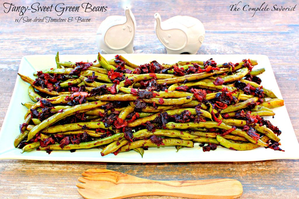 Tangy-Sweet Green Beans ~ Garden green beans tossed with onions, bacon, and sun-dried tomatoes and a splash of red wine vinegar ~ The Complete Savorist
